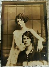 Vintage Old 1920's photo Two Women girls unusual Pose Short Hair Styles