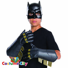 Childs Official Batman Gauntlets Gloves Dawn of Justice Fancy Dress Accessory