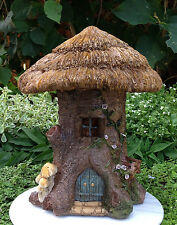 Miniature Dollhouse FAIRY GARDEN ~ Large Thatched Roof Tree Stump House ~ NEW