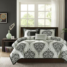 BEAUTIFUL MODERN CONTEMPORARY BLACK GREY SCROLL COMFORTER SET FULL QUEEN , KING