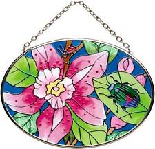 Joan Baker Designs TROPICAL ORCHID Painted Glass Small Oval Suncatcher Flowers