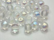 80 Böhmische Glasperlen 6mm Crystal AB Kugel Czech Glassbeads #3014