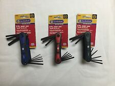 3 Sets Of Professional Fold Up Hex Key Sets - SAE + Metric + Torx