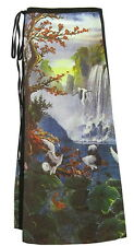 Art Print Wrap Skirt, Asian Traditional Art, Cranes and Waterfall  SW017