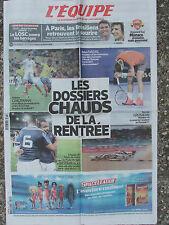 L'Equipe du 6/8/2014 - Les dossiers chauds de la rentrée - LOSC -Nadal -Grosjean