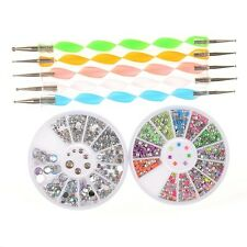 7Pcs/set Nail Art Rhinestone Round Studs Decoration 2 way Dotting Pen DIY Tool