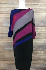 Vintage Flora Kung Dress By Newman Marcus Size 10 100% Silk Color Block Keyhole