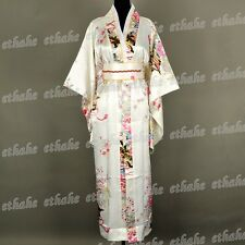 Deluxe Kimono Vestaglia Accappatoio Yukata Giapponese Bianco Taglia Unica ERCI4S