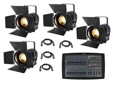 4 x eLumen8 LED Fresnel MP60 Warm White Theatre Stage School Lighting Package