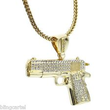 "Gun Iced-Out Pistol Pendant Chain Gold Tone Mens 36"" In Franco Hip Hop Necklace"