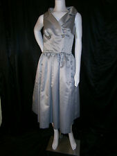 FANCY NY NEW YORK COCKTAIL SILVER TEA LENGTH SIZE 10 ANNA  WEDDING GOWN DRESS