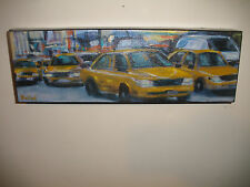 Anne Kullaf artist  New York City scene yellow cab taxi traffic oil painting