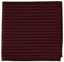New Men's Poly Woven pocket square hankie only burgundy tone on tone stripes