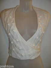 bebe S Cardigan Sweater Wrap Top Knit Crochet Creme Off White Wool Spring Chic