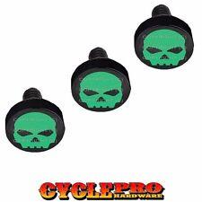 Black Billet Fairing Windshield Hardware Kit 96-13 Harley Touring Green Skull G