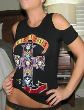 New Sexy GUNS N ROSES Black BAND Cold Shoulder GNR Stretch 80's Tee Shirt Top S