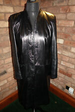Full Length Black Leather Ladies Coat
