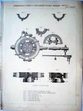 1888 stampa incisione -Meccanica-DINAMOMETRICO FRENO A ACQUA THIANAUD- Tav.235
