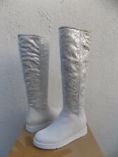 UGG COLLECTION CARMELA METALLIC WINTER WHITE SHEARLING BOOTS, US 7/ EUR 38 ~NEW