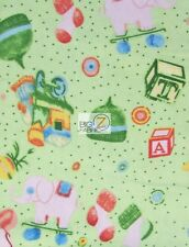 ELEPHANT PLAYTIME PRINT FLANNEL FABRIC BY THE YARD CLOTHING BABY BIBS BLANKETS