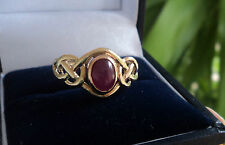Clogau Welsh 9ct Yellow & Rose Gold Celtic Cabouchon Ruby Ring h/m 1992  size M