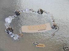 """Estate By Monet Silvertone Faceted Crystal Bracelet 7 1/2"""" New With Tag MSRP $45"""