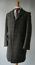 Mens Grey Rocha John Rocha Herringbone Check Patterned Wool Blend Coat Size M.