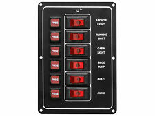 12V MARINE 6 GANG ROCKER SWITCH ALUMINUM PANEL W/FUSES FOR BOAT – FIVE OCEANS