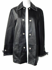 Compagnia Delle Pelli  Black with White Stitching Buttery Soft Leather Jacket S