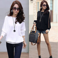 Women's Batwing Top Dolman Casual Lace T-Shirt Blouse Black/White Long Sleeve