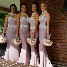 Pink Mermaid Bridesmaid Dresses Halter with Flowers Wedding Maid of Honor Dress