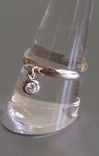 Bague Anneau argent 925 / pendentif zirconium Cristal serti clos argent