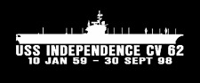 """USS INDEPENDENCE CV 62 Silhouette 4""""x12"""" Decals US NAVY"""