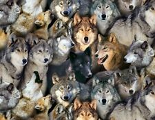 Fat Quarter Wolves North American Wildlife Cotton Quilting Fabric Wolf