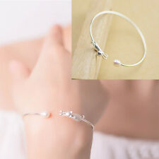 1Pc Women Silver Plated Cat Bracelet Imitation Pearl Frosted Bangle Decoration