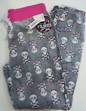 GOTHIC SKULLS & BONES WINTER SOFT PLUSH PAJAMAS WOMENS LOUNGE PANTS LOUNGERS L