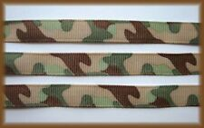 3/8 BITTY GREEN CAMO CAMOFLAUGE MILITARY ARMY GROSGRAIN RIBBON 4 HAIRBOW BOW 3YD