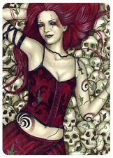 Gothic Fantasy Art ACEO PRINT skulls corset red ivy