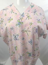 HQ Womans Scrub Top Butterly Dragonfly Pink Nurse Vet Tech Dental V-Neck Size M