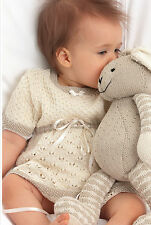 Knitting Pattern - Baby Girls Dress & Toy Rabbit -0-18months (2 patterns) PO191