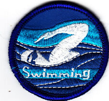 """SWIMMING"" -  Iron On Embroidered Patch - Swimming, Sports, Words, Swimmer"