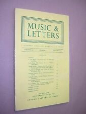 MUSIC & LETTERS. JANUARY 1974. QUARTERLY JOURNAL. OUP. J A WESTRUP