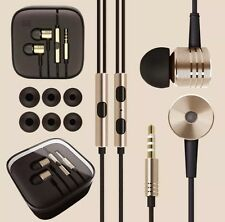BNIB GOLD METAL NOISE ISOLATING EARPHONES HEADSET WITH REMOTE+MIC+BRAIDED+BUDS