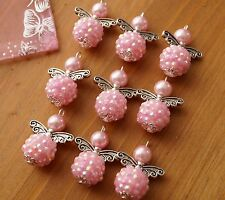 9x Shambala Style Pink Heart Wings Handmade Guardian Angel Charms Beads