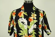 Island Aloha Wear orange green orchids hibiscus floral hawaiian Shirt Large