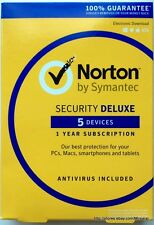 Norton Security Deluxe 2016-5 Devices PC Mac Android iOS Key Card in  Retail Box