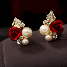 Korean Style Women Rose Flower Pearl Gold Plated Rhinestone Ear Studs Earrings