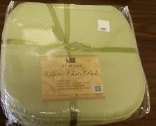 "Set of 4 KITCHEN CHAIR PADS CUSHIONS w/strings, Green Dbl sided, 15"" x 15"""
