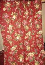 WAVERLY FLORAL MANOR BOUQUET RED FLORAL & GOLD (PAIR) PANELS & TIEBACKS 42 X 82