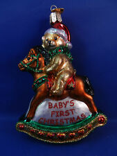Baby's First Old World Christmas Ornament Glass Tree Rocking Horse NWT 44034